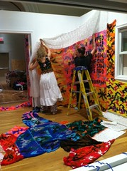 "Installing ""Knitting is for Pus****"" by Olek"