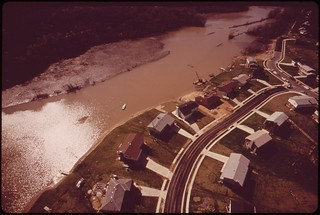 Aerial View Of Occoquan River Showing Shoreline Erosion And Siltation, April 1973