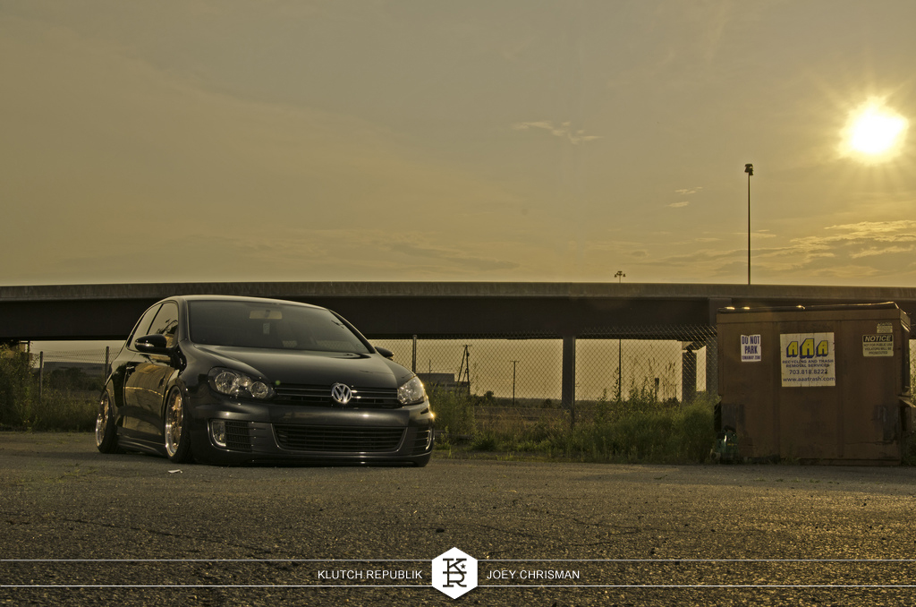 mike zimmy vw mk6 golf gti 2.0t apr stage 2 DP Motorsport AMP 17x8 17x9 falken 512 stretched bagriders airlift 3pc wheels static airride low slammed coilovers stance stanced hellaflush poke tuck negative postive camber fitment fitted tire stretch laid out hard parked seen on klutch republik