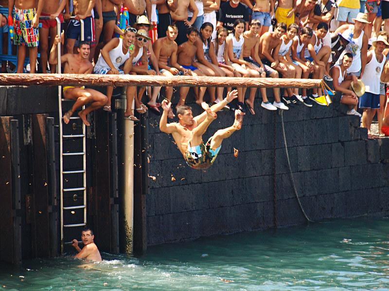 Greasy Pole at Fiestas del Carmen, Puerto de la Cruz, Tenerife