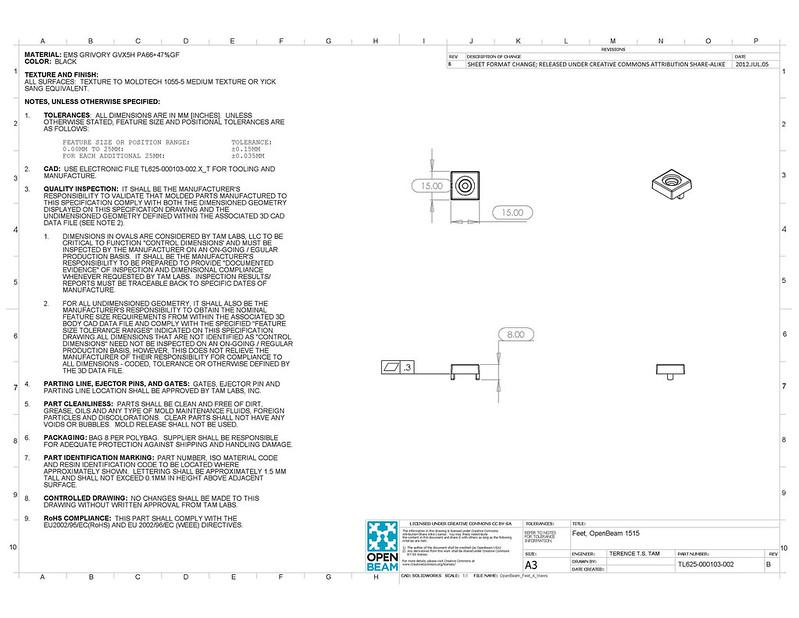 TL625-000103-002-B - Feet, OpenBeam1515