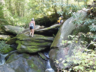 Kathy and Larry Climbing Bear Camp Creek
