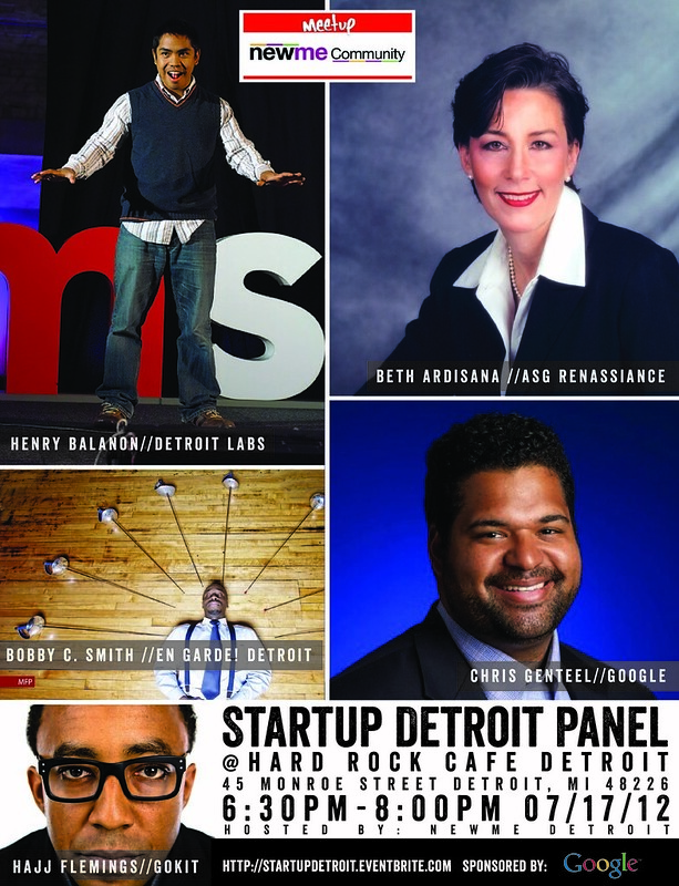 'Startup Detroit' Panel:  Hosted by NewMe Detroit - 07/17/12