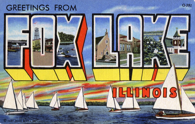 Greetings from Fox Lake, Illinois - Large Letter Postcard