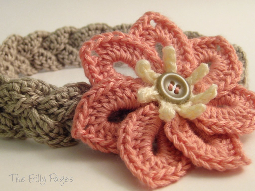 Braided Headband with 7-petal Flower