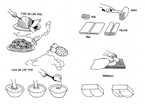 "drawings of various foods, a ham, dough with the caption ""fuck me like this"""