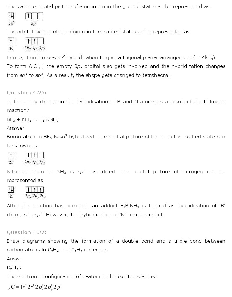 NCERT Solutions for Class 11 Chemistry Chapter 4 - Chemical Bonding and Molecular Structure