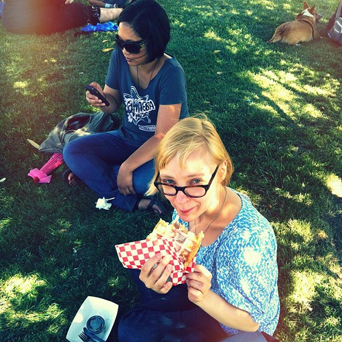 Waffles in the park.