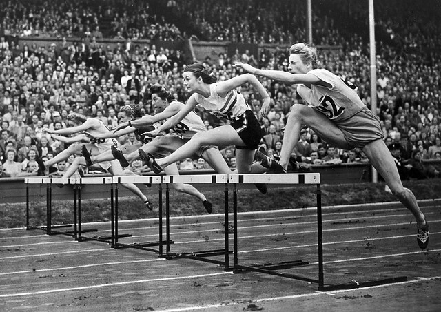 Fanny Blankers-Koen of Holland in action in the 80 metres hurdles at the 1948 London Olympics. ©ROH/IOC 2012