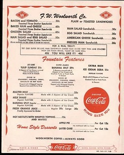 1957 menu from Woolworth's Department Store