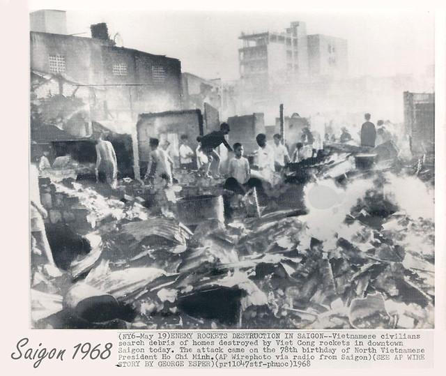 Saigon 1968 - Viet Cong Rockets Destroy Homes in Downtown