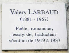 Photo of Valery Larbaud white plaque