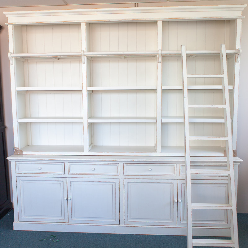 Three Bay French Provincial Style Library Bookcase with Ladder  eBay