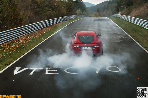 Burnout at the Nurburgring in a Jag