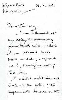 Sherrington to Cushing - 30 December 1908 (WCG 32.16)