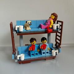 Three sleepyheads couchsurfing on my LEGO doubledekkercouch