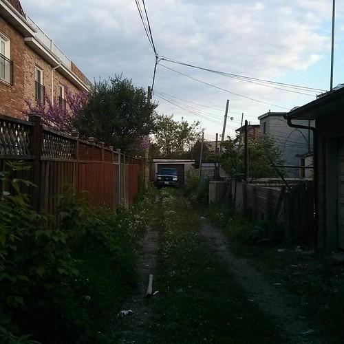 Truck in alley #toronto #truck #garage #laneway #alley #dovercourtvillage #dupontstreet