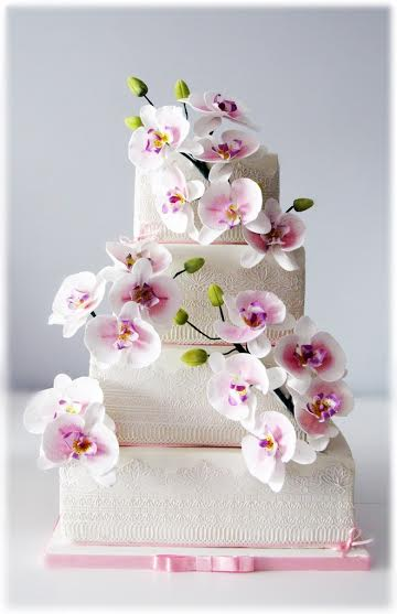 Wedding Cake with Handmade Orchids by Sylwia Anna Jozwiak Founder of TheLittleOwlCakes™