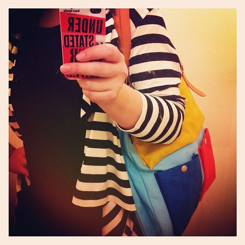 Today's outfit: #marimekko striped cardigan & bag... Colour rules!