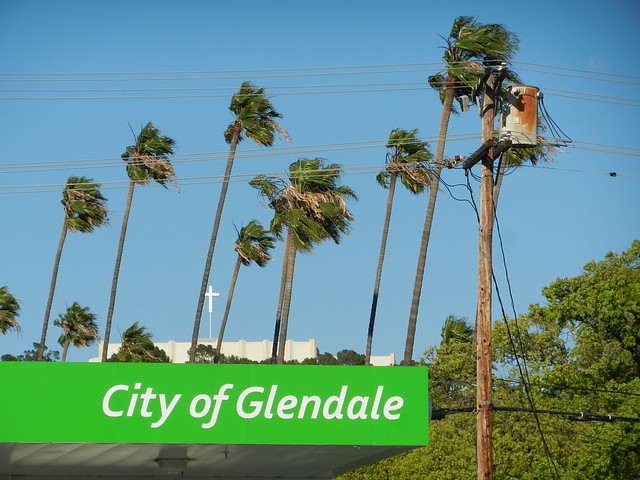 City of Glendale Palm Trees Forest Lawn Natural Gas Sta