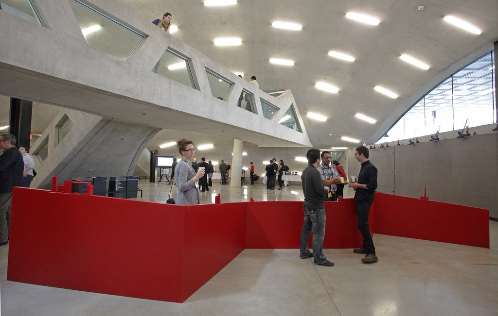 Guest mingle around installation in Milstein Hall dome.