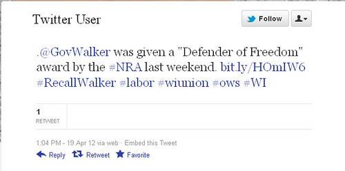 Sample Tweet—Governor Walker was giving a Defender of Freedom award by the NRA last weekend.