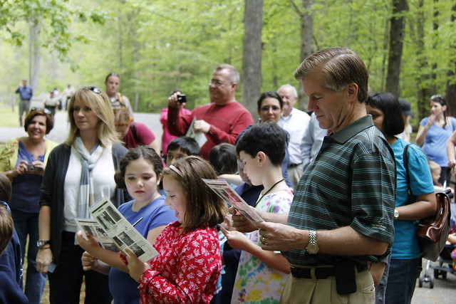 Governor McDonnell studies the Tree Identification Guide on the Guided Hike led by Park Naturalist Krista Weatherford