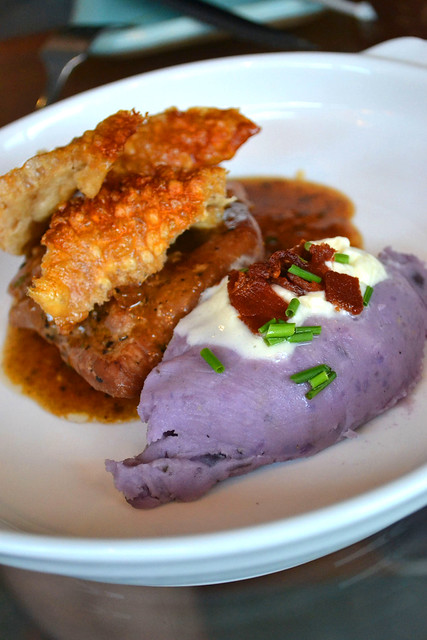 12hr Pork with Purple Mash, Sour Cream & Crackling