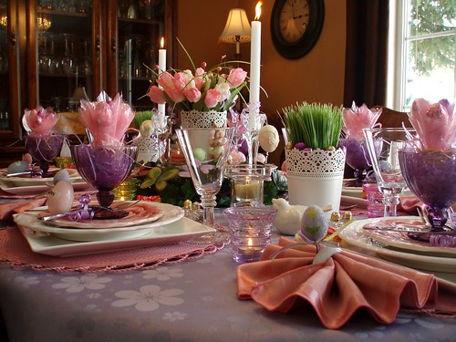 Dining delight purple pink easter brunch - Easter table decorations meals special ...
