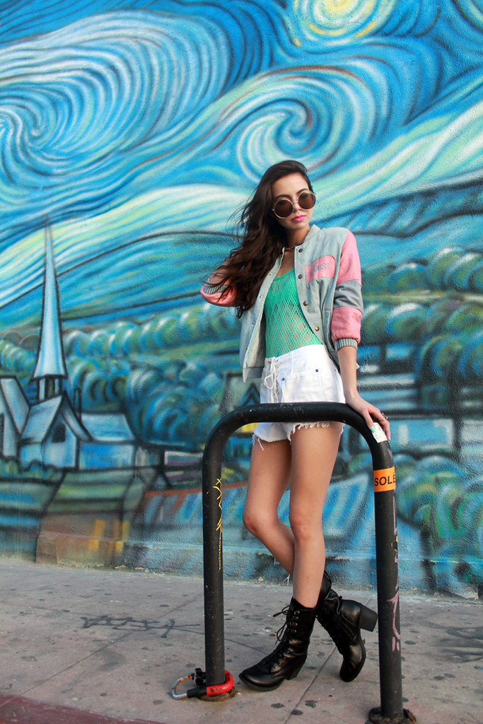 Tarte Vintage Neon Mint Fishnet vintage swimsuit one piece, Vintage Guess denim bomber jacket, white lace-up denim shorts