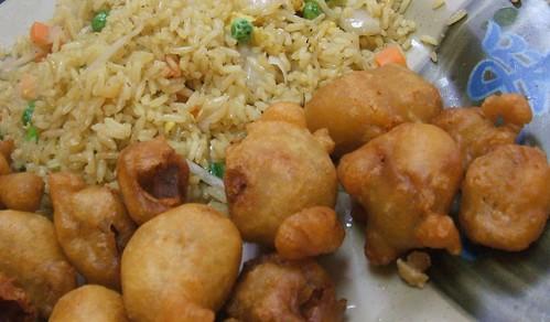 Sweet & sour pork, veg fried rice