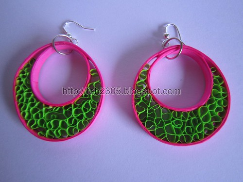 Handmade Jewelry - Paper Beehive Quilling Hoops  (1) by fah2305