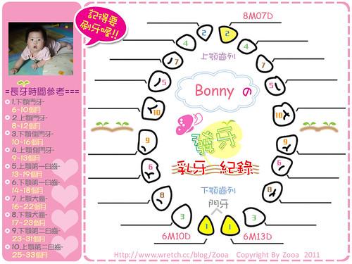 乳牙發芽紀錄Bonny版(第三顆)
