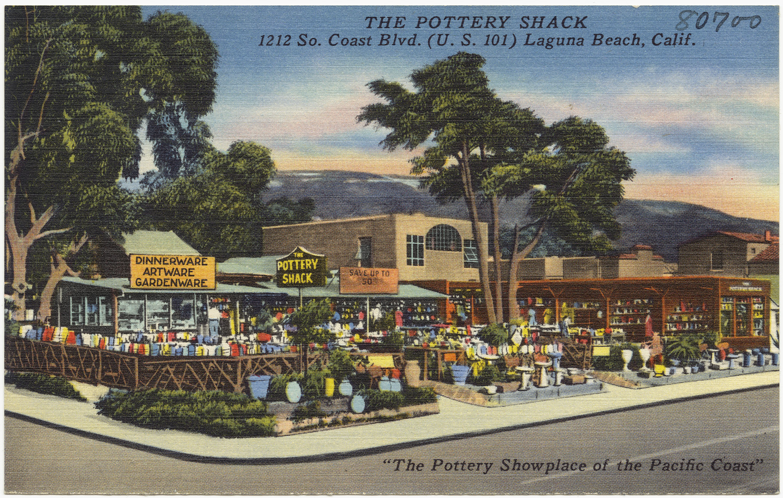 postcard, antique, pottery shack, laguna beach, california, pottery