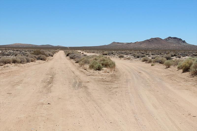 Road heading east out of the denser area of California City, California: future avenue?