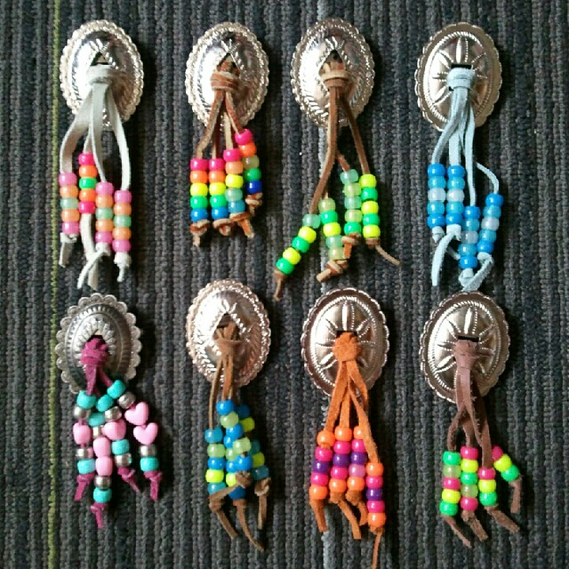 Beaded bolo brooches
