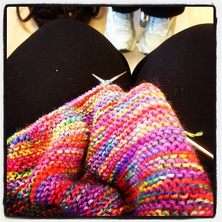 Braving knitting at the hairdressers