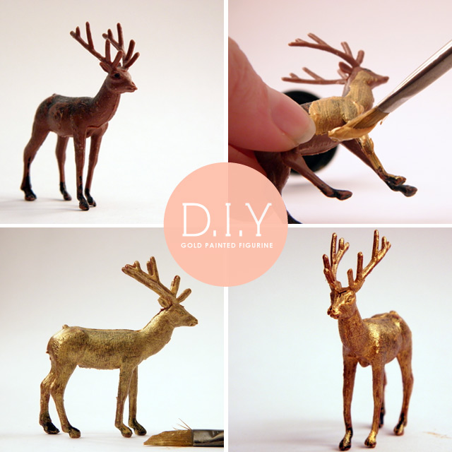 Gold painted deer figurine