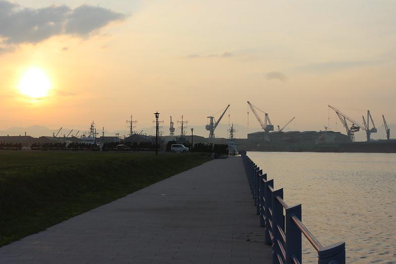 夕方の緑の島
