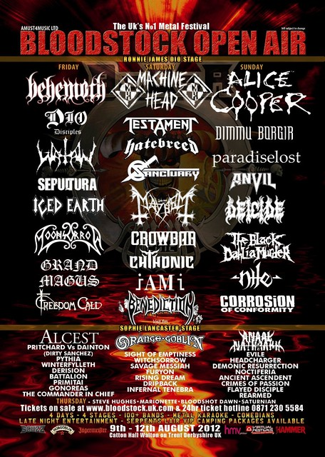 Bloodstock 2012 line up poster