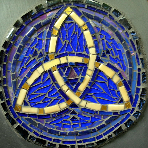 Triquetra Mosaic in Blue and Gold by Margaret Almon