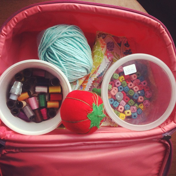 Her sewing kit.