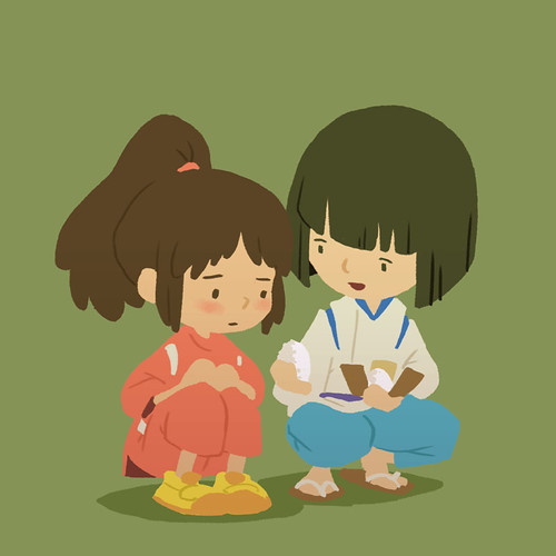 Chihiro and Haku from Spirited Away