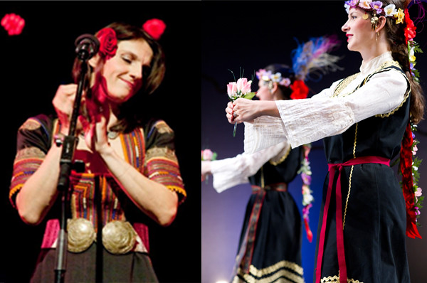 Left: Bulgarian roots rhythms with Vlada Tomova's Balkan Tales. Photo by Stanislava Georgieva. Right: Gorana Dance Collective. Photo by Paula Lobo.