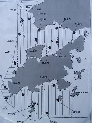 圖片為翻拍海上監測航線圖,黑點為白海豚出現熱點
