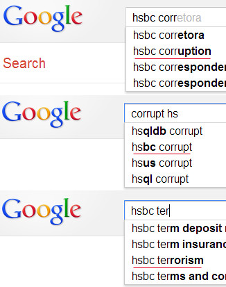 Google acknowledges - HSBC Corrupt and promoting terrorism