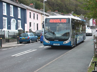 Optare Tempo YJ55BKF in the Richards Bros version of TrawsCambria livery on the X50 service in Aberaeron