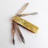 Vintage 4 Blade Rostfrei Folding Pocket Knife - Yellow Cracked Ice Celluloid