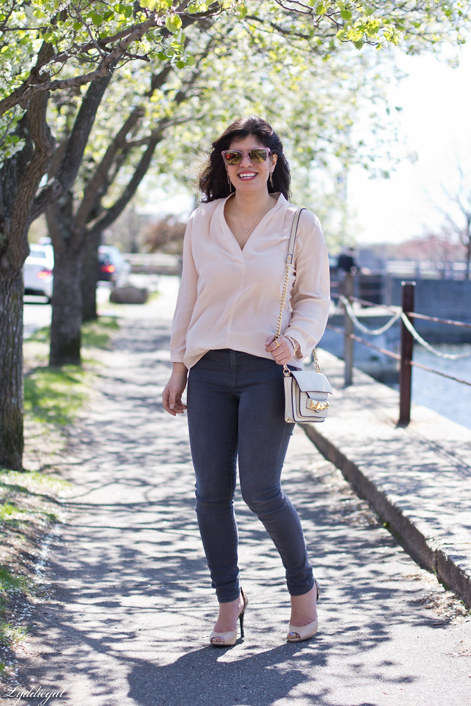 blush blouse, grey jeans, linea pelle bag, pink sunglasses.jpg