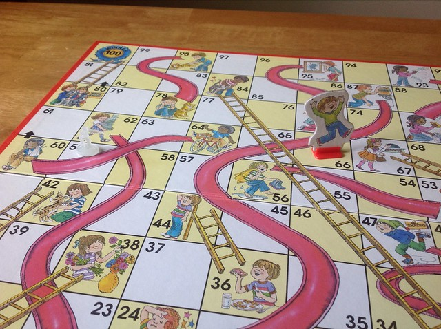 Chutes and Ladders (Lindsay is playing as the tiny zombie)